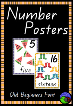 QLD BEGINNER FONT watercolour NUMBER POSTERS ~ 1 to 20