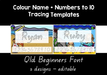 QLD BEGINNERS FONT colour name + numbers to 10 tracing templates EDITABLE