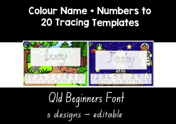 QLD BEGINNERS FONT  colour name + numbers to 20 tracing templates EDITABLE