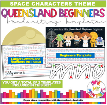 Qld Beginners Handwriting Template - Star Wars, Start/Stop Points, A4 size