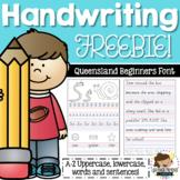 QLD Beginners Font Handwriting Practice Sheets FREEBIE