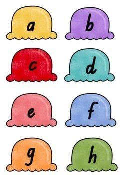 QLD Font Alphabet Match Game (Ice Cream Cones)