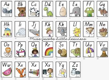 QLD Font Alphabet Posters | Cactus Theme