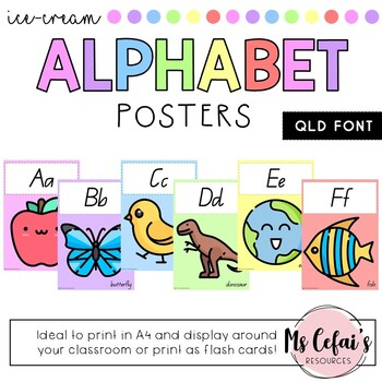 QLD Font Alphabet Posters (Ice-Cream)