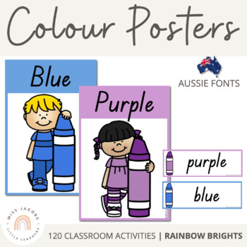 QLD Font Colour Posters {Rainbow Theme}