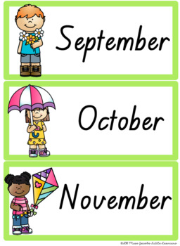 QLD Font Months and Days Labels {Rainbow Theme}