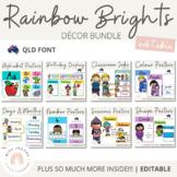 QLD Font Rainbow Classroom Decor Bundle