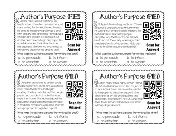 QR Activity: Author's Purpose task card game (3rd, 4th, 5th grades)
