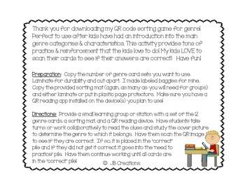 QR Activity: Genre task card game (3rd, 4th, 5th grades)