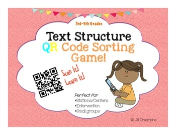 Qr activity text structure task card game 3rd 4th 5th grades stopboris Gallery