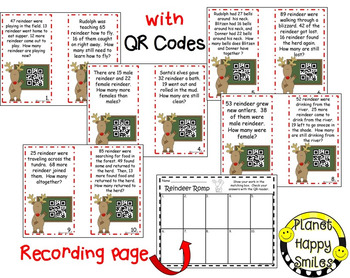 Christmas Activity ~ QR Addition & Subtraction Word Problems ~ Reindeer Romp