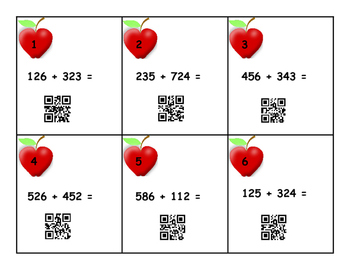 QR Apple Math 3 digit addition no Regrouping