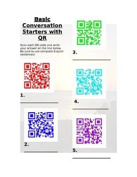 QR Basic Conversation Starters for ESOL / ESL / ELL