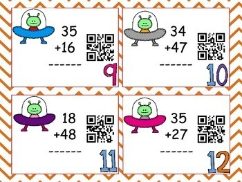 Two-digit Addition : QR CODE Task Cards