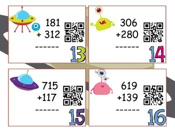 Three-digit Addition :QR CODE Task Cards