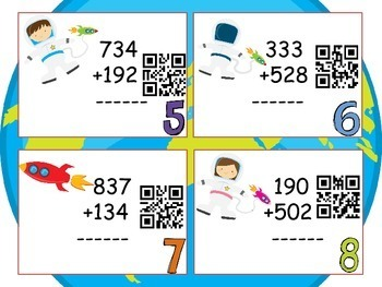 Three-digit Addition Task Cards:QR CODE Task Cards - Space Themed Activities