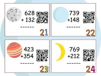 Three-Digit Addition Task Cards: QR Code Math Task Cards