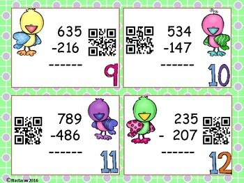 Three-digit Subtraction :QR CODE Task Cards