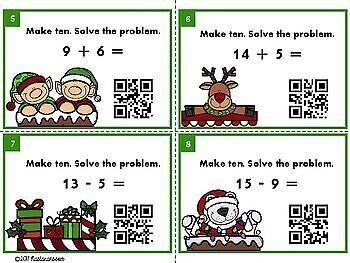 Christmas Math Task Cards : Christmas Task Cards With QR CODES