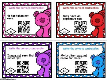 Contractions Activities :Task Cards With QR CODES
