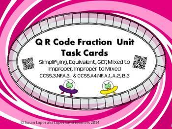 QR CODE FRACTION TASK CARDS: EQUIVALENT, GCF, SIMPLIFYING, IMPROPER - MIXED