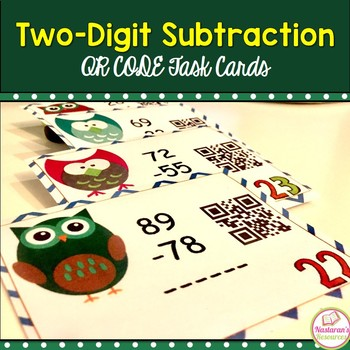 Two-digit Subtraction : QR CODE Task Cards