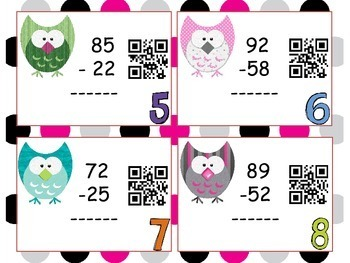 Double Digit Subtraction Task Cards: QR CODE Task Cards
