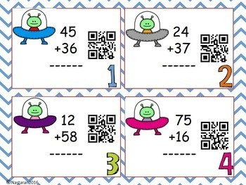 Addition and Subtraction Task Cards : QR CODE Activity