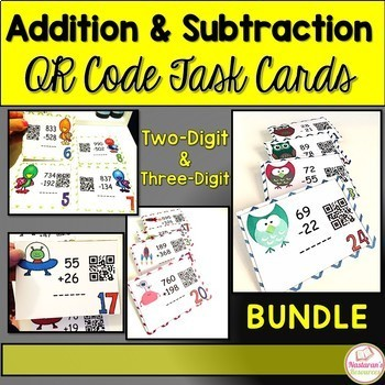 Addition and Subtraction Task Cards With QR CODE  Bundle