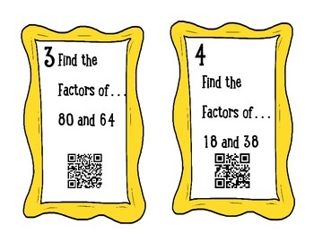 QR CODES! Factoring, Divisibility and GCF task cards/scavenger hunt