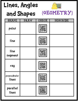 QR CODES: Lines, Angles and Shapes