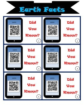 QR CODES:  Sun, Earth, and Moon facts