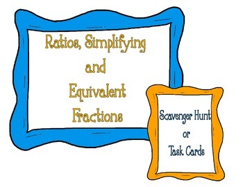 QR CODES! simplifying,equivalent fractions and ratios cards/scavenger hunt