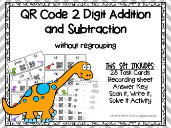 QR Code 2 Digit Addition and Subtraction Without Regrouping