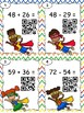 Super Hero QR Code 2 Digit Addition and Subtraction with Regrouping Task Cards