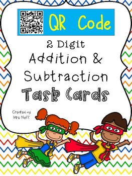 Super Hero QR Code 2 Digit Addition and Subtraction with R
