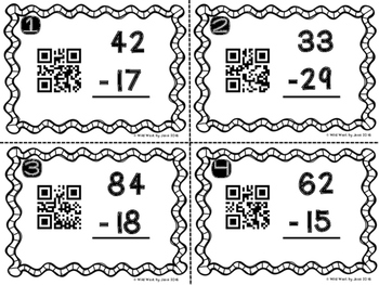 QR Code 2-Digit Subtraction with Regrouping
