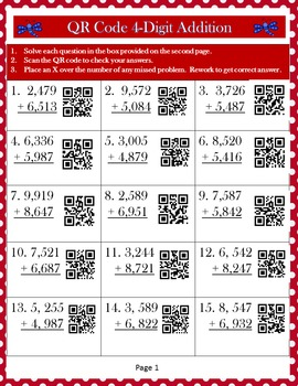 QR Code 4-Digit Addition