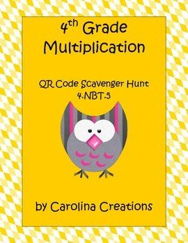 QR Code 4th Grade Common Math Multiplication Scavenger Hunt 4.NBT.5