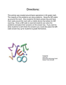 QR Code 4th grade math basic operations