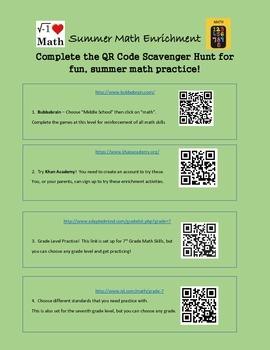 QR Code Activities - Math - Review, Reinforcement, or Summer Activities