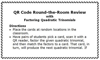 QR Code Activity: Factoring Quadratic Functions