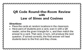 QR Code Activity: Law of Sines & Law of Cosines