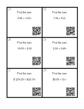 QR Code Add/Subtract Decimal Task Cards