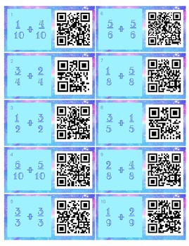 QR Code Add/Subtract Fractions with Common Denominators Task Cards