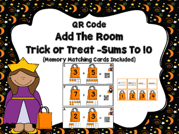QR Code  Add The Room Trick or Treat -Sums To 10 (Memory Cards Included)