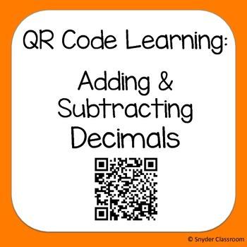 QR Code Adding and Subtracting Decimals Worksheets