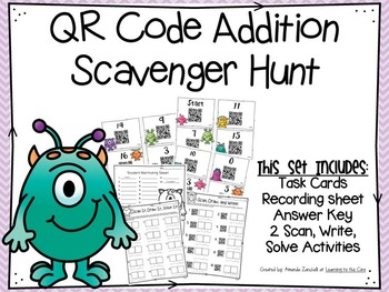 QR Code Addition Scavenger Hunt