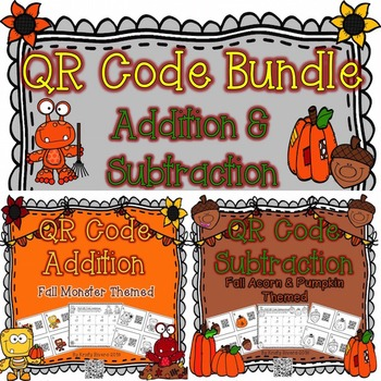 QR Code Addition & Subtraction BUNDLE - Fall Themed