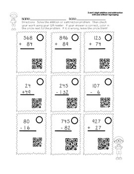 Addition Subtraction Practice With QR Codes